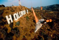 Michelle Yeoh, Hangs from a helicopter over the Hollywood sign in California